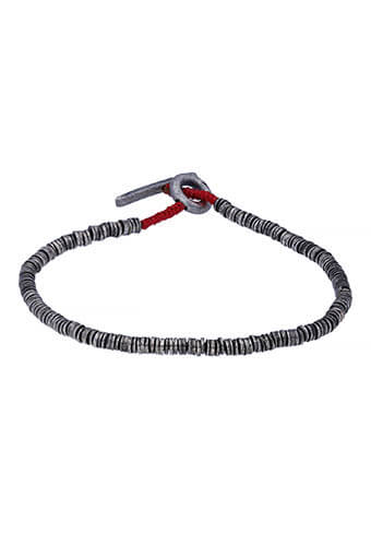 M.Cohen / Bracelet Mini Sterling Silver Disc rouge