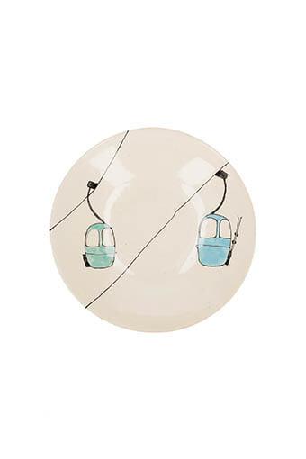 Three Seven / Assiette creuse télécabines vertes et bleues