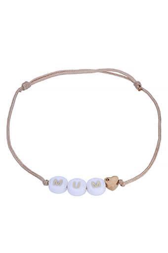 BBUBLE / Bracelet 3 lettres + coeur en or 18 carats