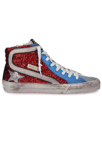 Golden Goose / Sneakers Slide Red Lurex-Blue Gold Lizard