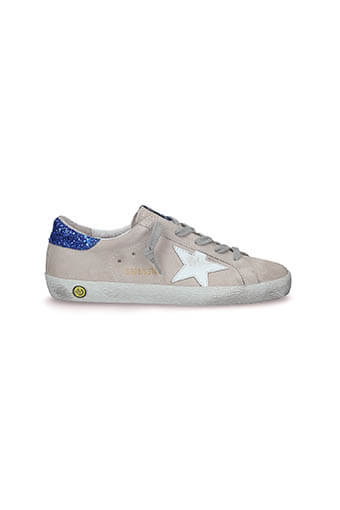 Golden Goose / Sneakers Superstar Patch Paillettes Bleues Etoile blanche enfant