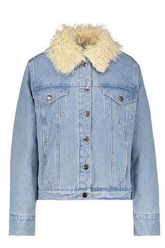 Frame Denim / Veste Monroe en jean  fourrée
